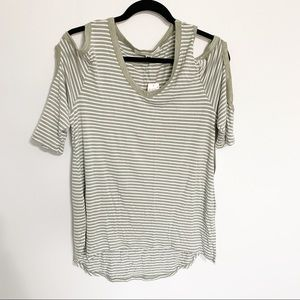 French Laundry olive striped cold shoulder top NWT